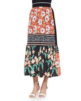 Floral Sunrise Mixed-Print Skirt