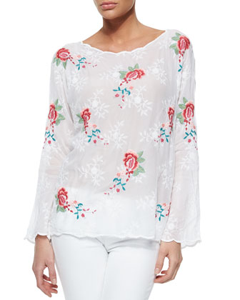 Jaynee Long-Sleeve Embroidered Blouse