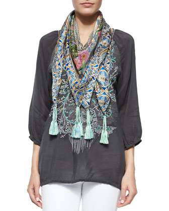 3/4-Sleeve Embroidered Blouse & Lowell Floral-Print Silk Scarf, Women's