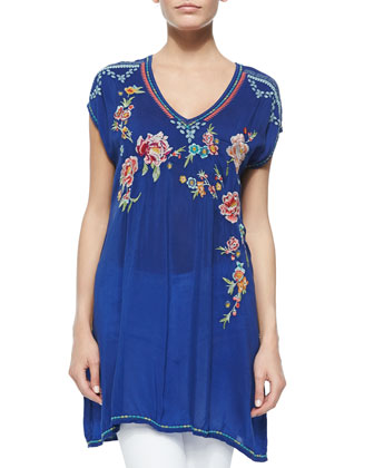 Carmen Floral-Embroidered Tunic