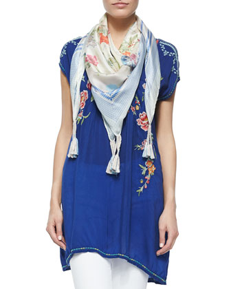Carmen Floral-Embroidered Tunic & Garden-Print Silk Scarf, Women's
