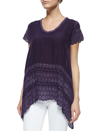 Short-Sleeve Eyelet-Trim Top, Women's