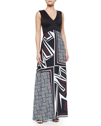 Warrior Weave Printed/Solid Maxi Dress