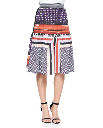 Mixed-Print Crop Top & Mixed-Print Tiered Skirt