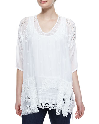Lacey Half-Sleeve Boxy Top, Scoop-Neck Cotton Tank & Lamb Printed Silk ...