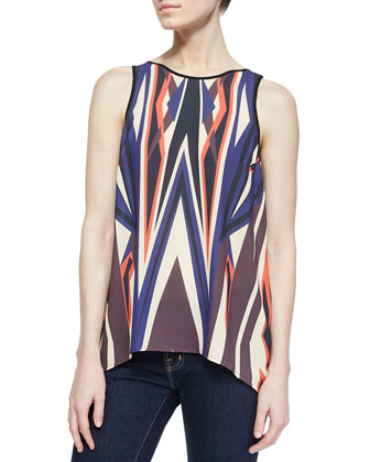 Dynamic Sunset Split-Back Blouse