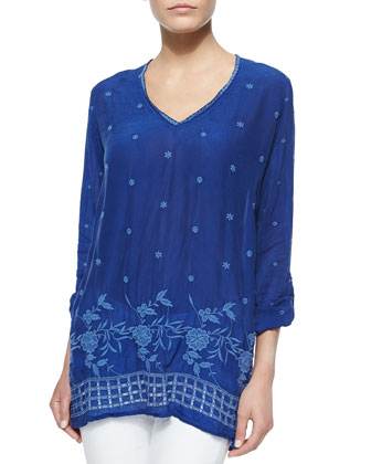Meho Long-Sleeve Embroidered Tunic, Women's