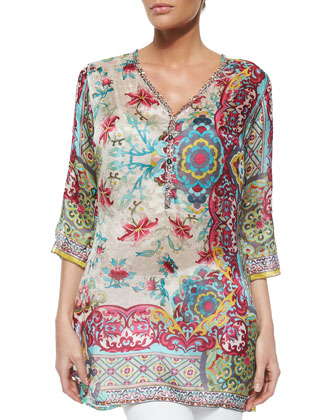 3/4-Sleeve Printed Silk Tunic, Women's