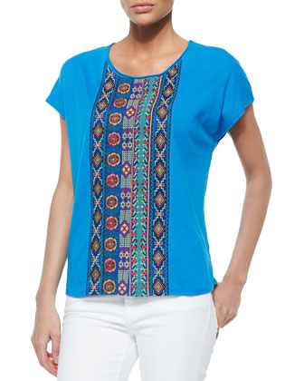 Embroidered-Center-Panel Tee, Women's