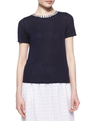 Short-Sleeve Embellished-Crewneck Sweater