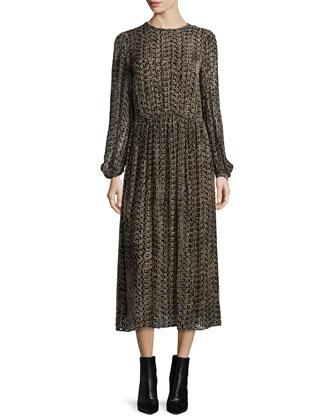 Long-Sleeve Printed Midi Dress, Chocolate