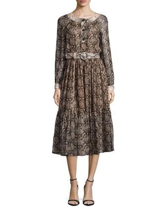 Long-Sleeve Snake-Print Peasant Dress, Taupe