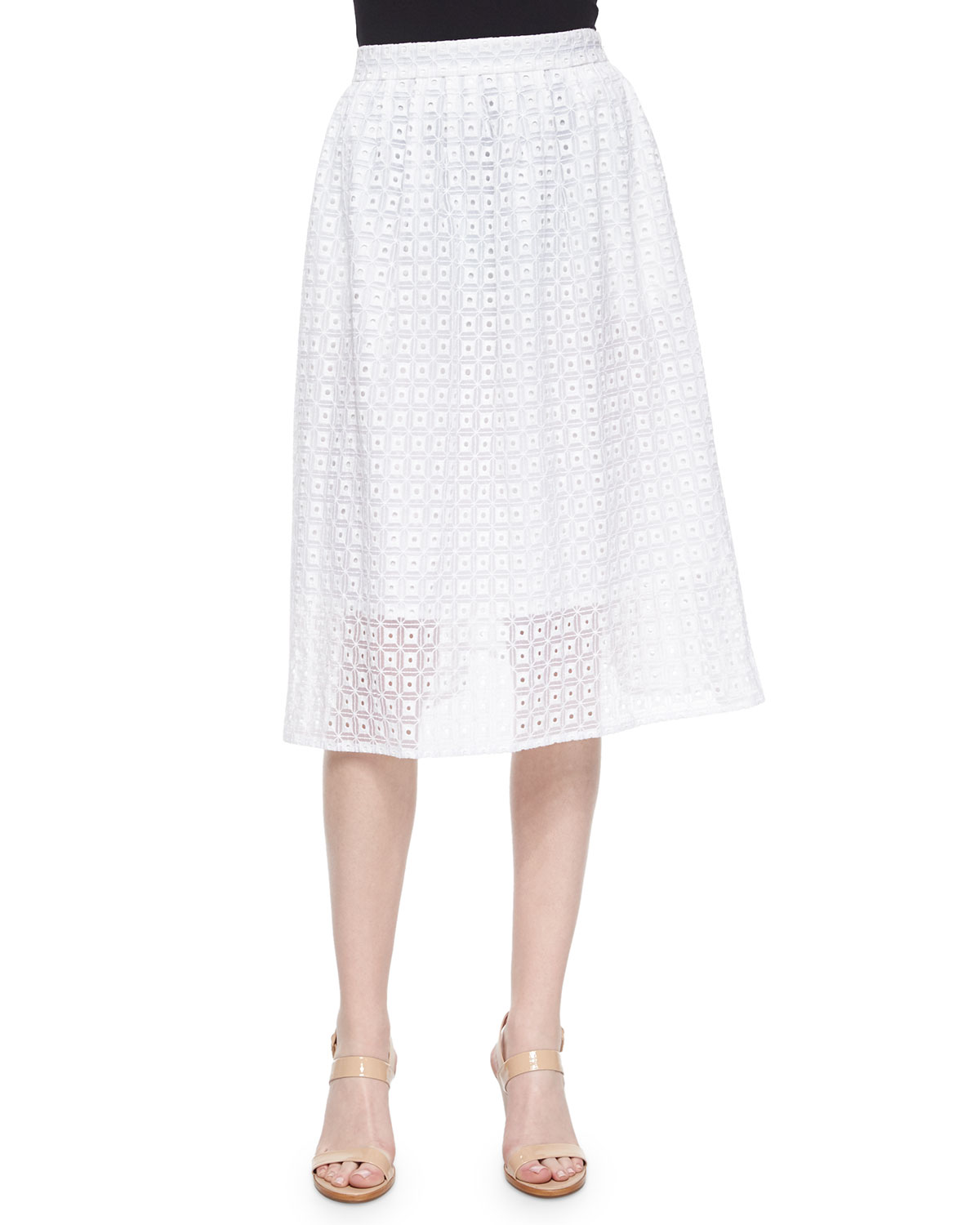 Geometric Eyelet Lace Skirt, Size: 4, White - Magaschoni