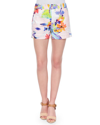 Corbin Floral-Print Perforated Shorts