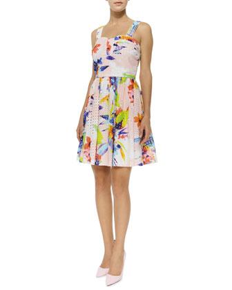 Elin Floral-Print Eyelet Flare Dress