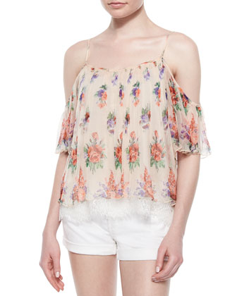 Ava Floral Chiffon Blouse, Blush/Multicolor