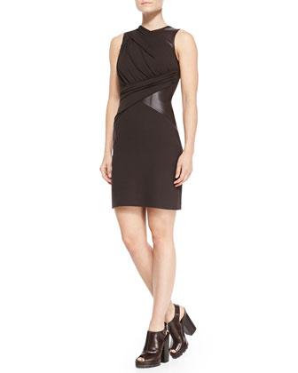 Leather-Waist Crepe Dress