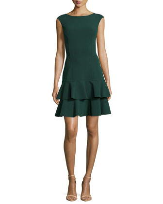 Double-Flounce Fit-&-Flare Dress, Forest