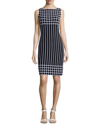 Sleeveless Grid Dress, Black/Bright White