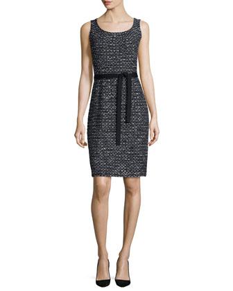Sleeveless Mod-Check Dress, Black
