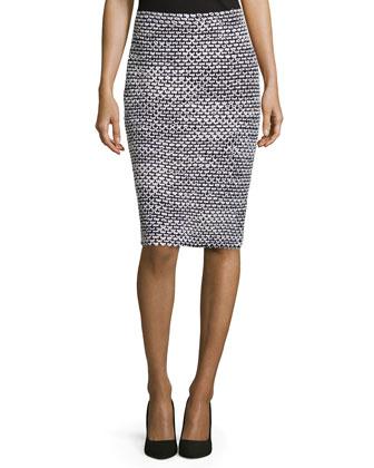 Mod-Check Pencil Skirt, Black/Bright White