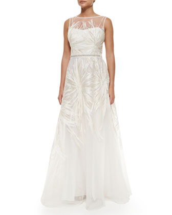 Sleeveless Embroidered Ball Gown
