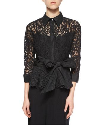 3/4-Sleeve Lace Tie-Waist Shirt