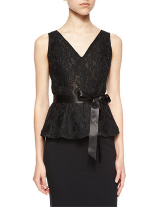 Sleeveless Lace Belted Peplum Top