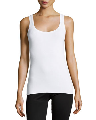 Scoop-Neck Tank Top, White