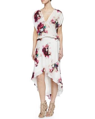 Floral-Print Silk Drawstring Dress