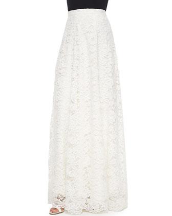 Short-Sleeve Lace Crop Top & High-Waist Rosette Lace Maxi Skirt