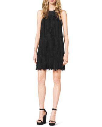 Leather-Top Fringe Dress