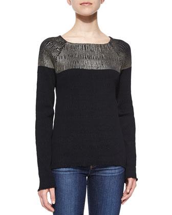 Long Sleeve Colorblock Top, Black