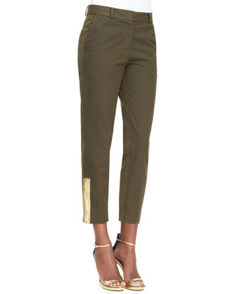 Cropped Trousers with Sketched Bar Detail