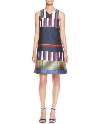 Sleeveless Placed-Stripe V-Neck Shift Dress
