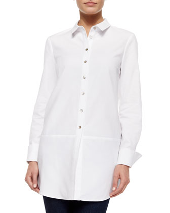 Long-Sleeve Tailored Shirt, White