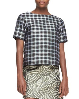 Short-Sleeve Plaid Top