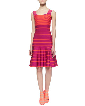 Sleeveless Striped Flounce Dress