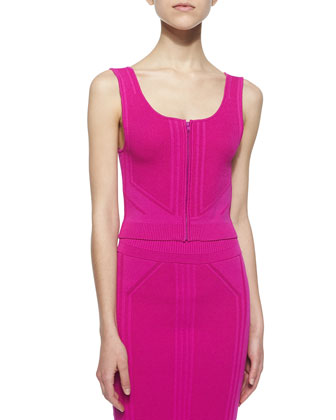 Sleeveless Zip-Front Crop Top, Fuchsia