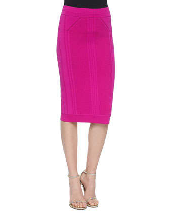 Sleeveless Zip-Front Crop Top & Slim Knit Pencil Skirt