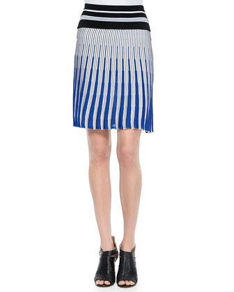 Sleeveless Striped Crop Top & Vertical Striped Knit Skirt