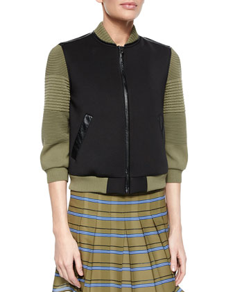 3/4-Sleeve Colorblock Jacket, Sleeveless Zip-Front Crop Top & Striped ...