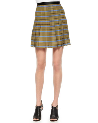Striped Pleated Silk Skirt