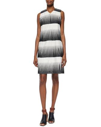 Sleeveless Shift Dress, Ivory/Black
