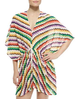 Honeycomb Zigzag-Knit Caftan
