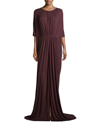 Ruched Floor-Length Caftan, Bordeaux