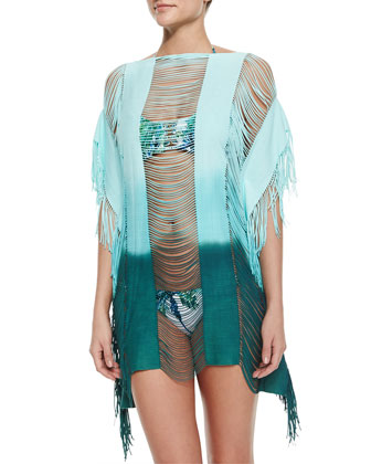 Monique Ombre Fringe Coverup, Printed Braided Halter Swim Top & Bottom