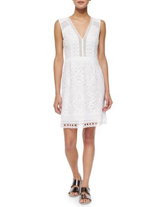 Breezy V-Neck Lace Sheath Dress