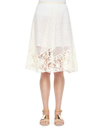 Bell-Sleeve Sweater Tunic & Lace A-line Knee-Length Skirt