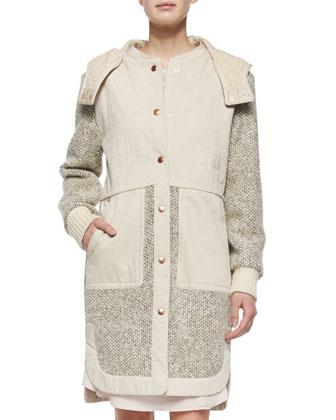 Tweed Hooded Anorak & Long-Sleeve Silk Ruffle-Hem Dress